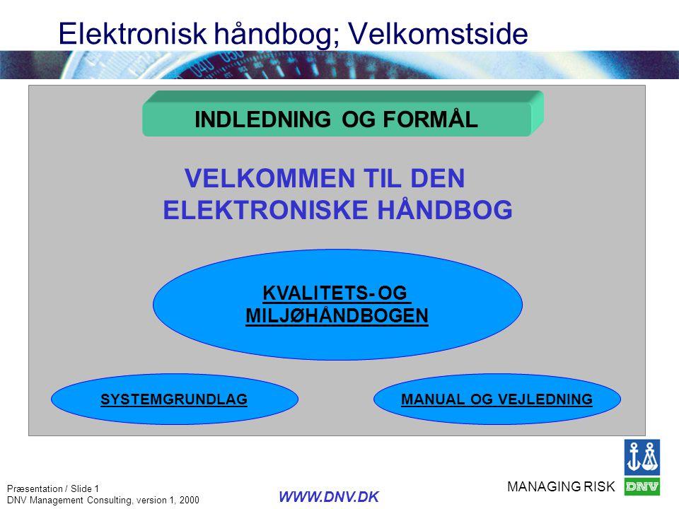 MANAGING RISK Præsentation / Slide 1 DNV Management Consulting, version 1, 2000 WWW.DNV.DK Elektronisk håndbog; Velkomstside INDLEDNING OG FORMÅL KVAL