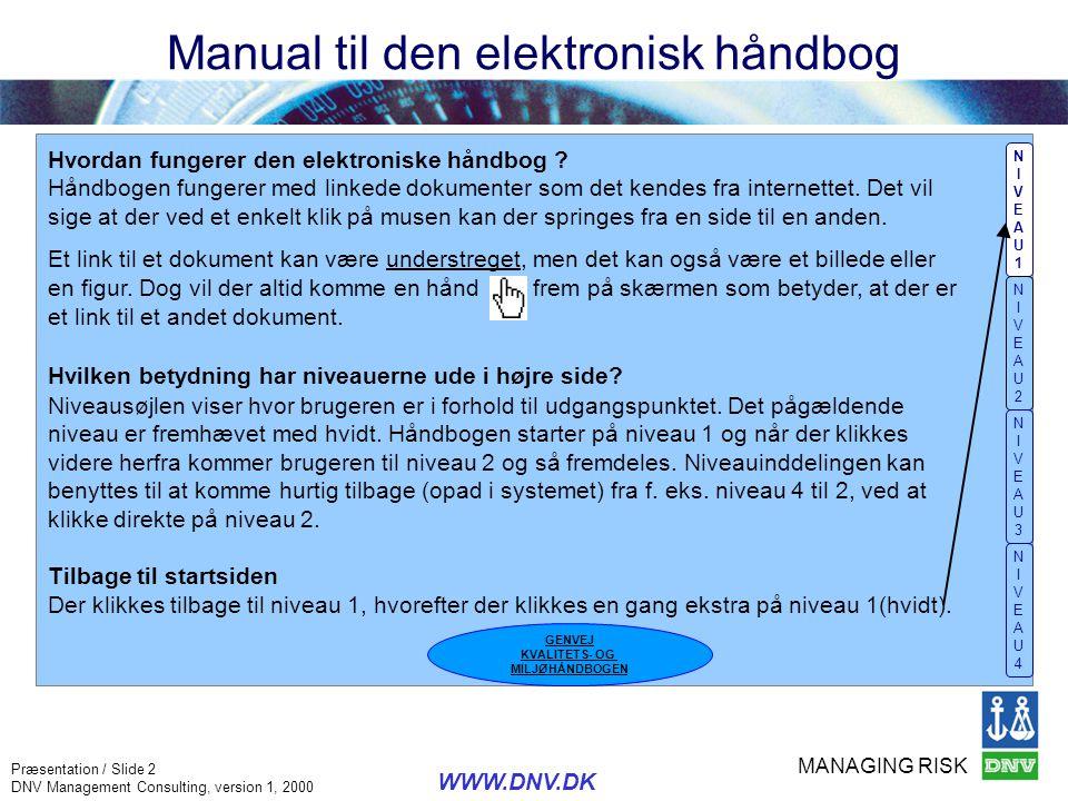 MANAGING RISK Præsentation / Slide 2 DNV Management Consulting, version 1, 2000 WWW.DNV.DK Manual til den elektronisk håndbog NIVEAU1NIVEAU1 NIVEAU2NI