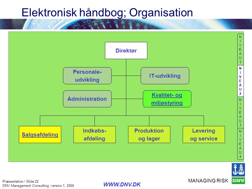 MANAGING RISK Præsentation / Slide 22 DNV Management Consulting, version 1, 2000 WWW.DNV.DK Elektronisk håndbog; Organisation NIVEAU1NIVEAU1 NIVEAU2NI