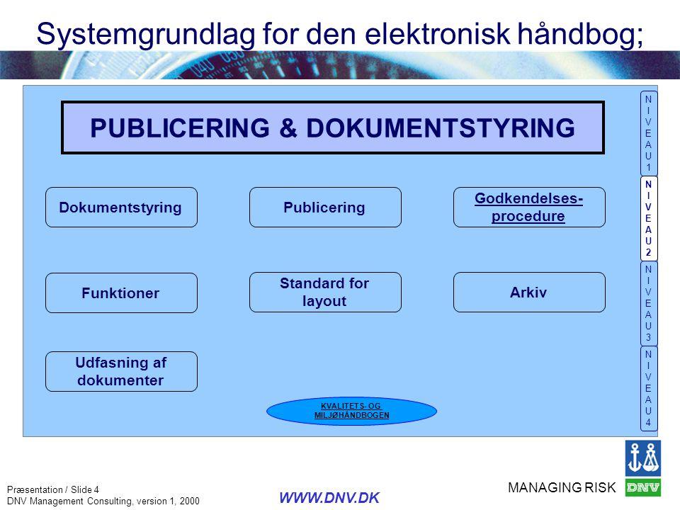 MANAGING RISK Præsentation / Slide 4 DNV Management Consulting, version 1, 2000 WWW.DNV.DK PUBLICERING & DOKUMENTSTYRING Udfasning af dokumenter Funkt