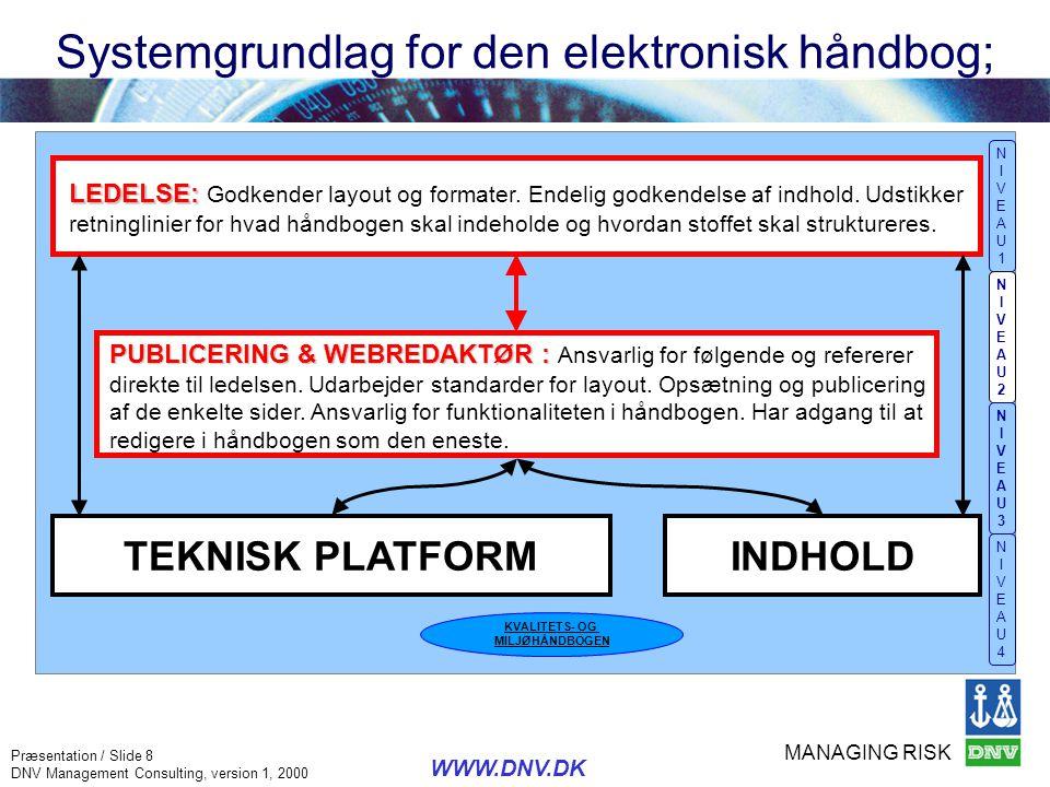 MANAGING RISK Præsentation / Slide 8 DNV Management Consulting, version 1, 2000 WWW.DNV.DK TEKNISK PLATFORM PUBLICERING & WEBREDAKTØR : PUBLICERING &