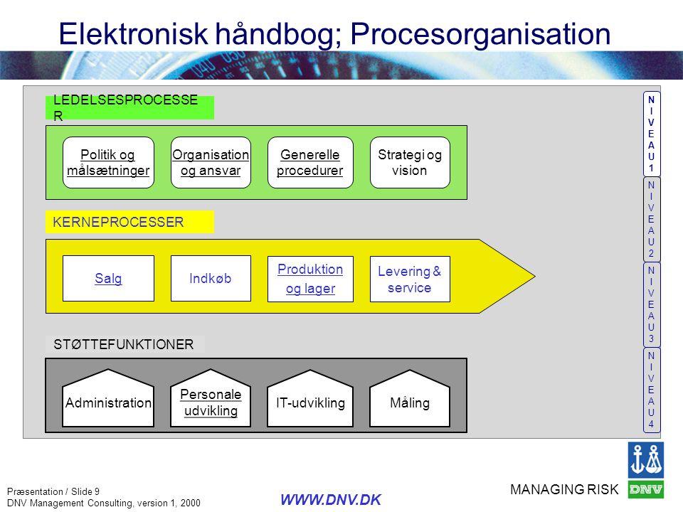 MANAGING RISK Præsentation / Slide 9 DNV Management Consulting, version 1, 2000 WWW.DNV.DK Elektronisk håndbog; Procesorganisation NIVEAU1NIVEAU1 NIVE