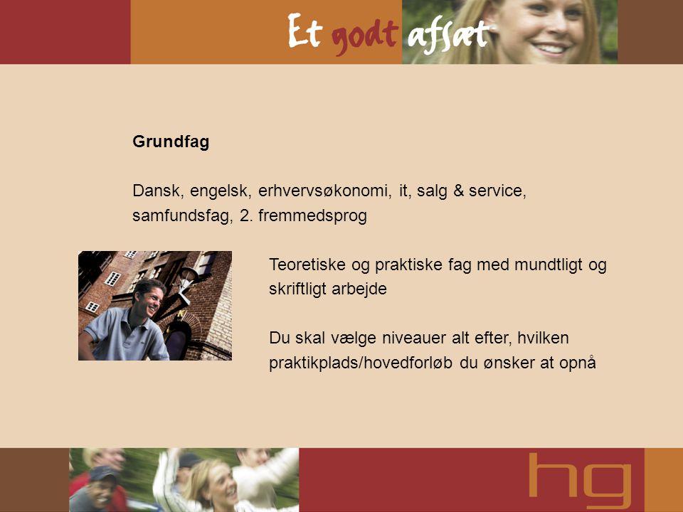 Grundfag Dansk, engelsk, erhvervsøkonomi, it, salg & service, samfundsfag, 2. fremmedsprog Teoretiske og praktiske fag med mundtligt og skriftligt arb