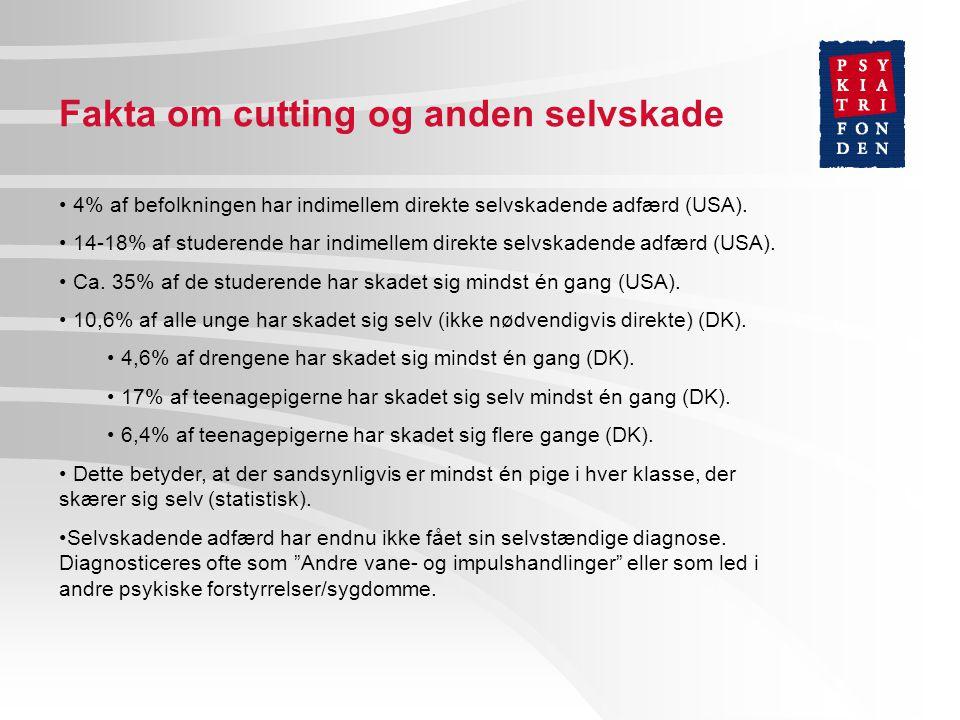 Fakta om cutting og anden selvskade • 4% af befolkningen har indimellem direkte selvskadende adfærd (USA).