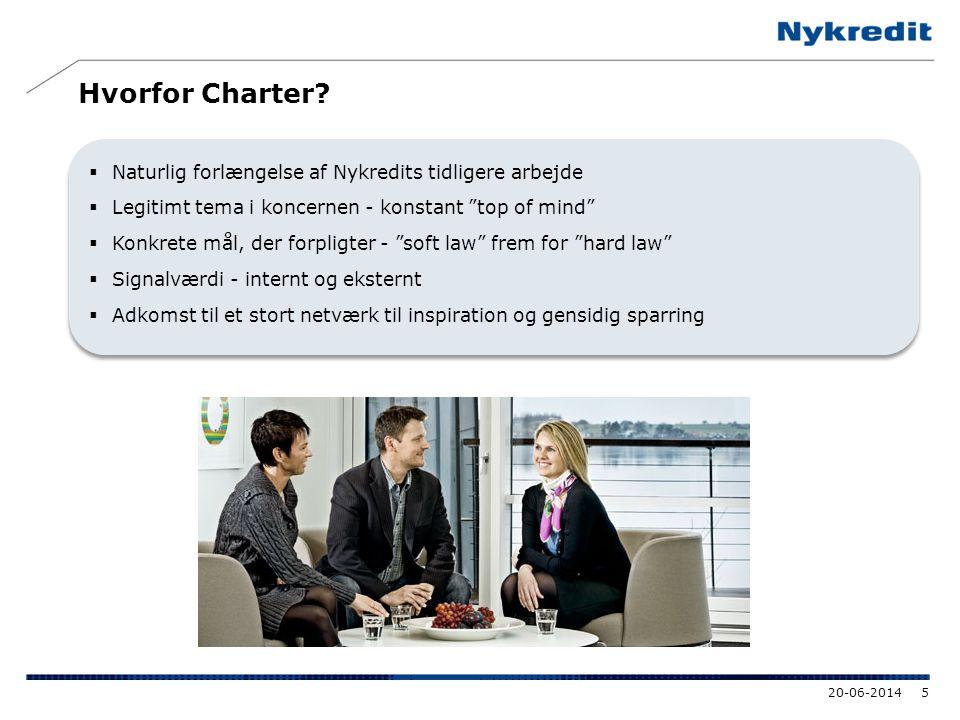 """Hvorfor Charter?  Naturlig forlængelse af Nykredits tidligere arbejde  Legitimt tema i koncernen - konstant """"top of mind""""  Konkrete mål, der forpli"""