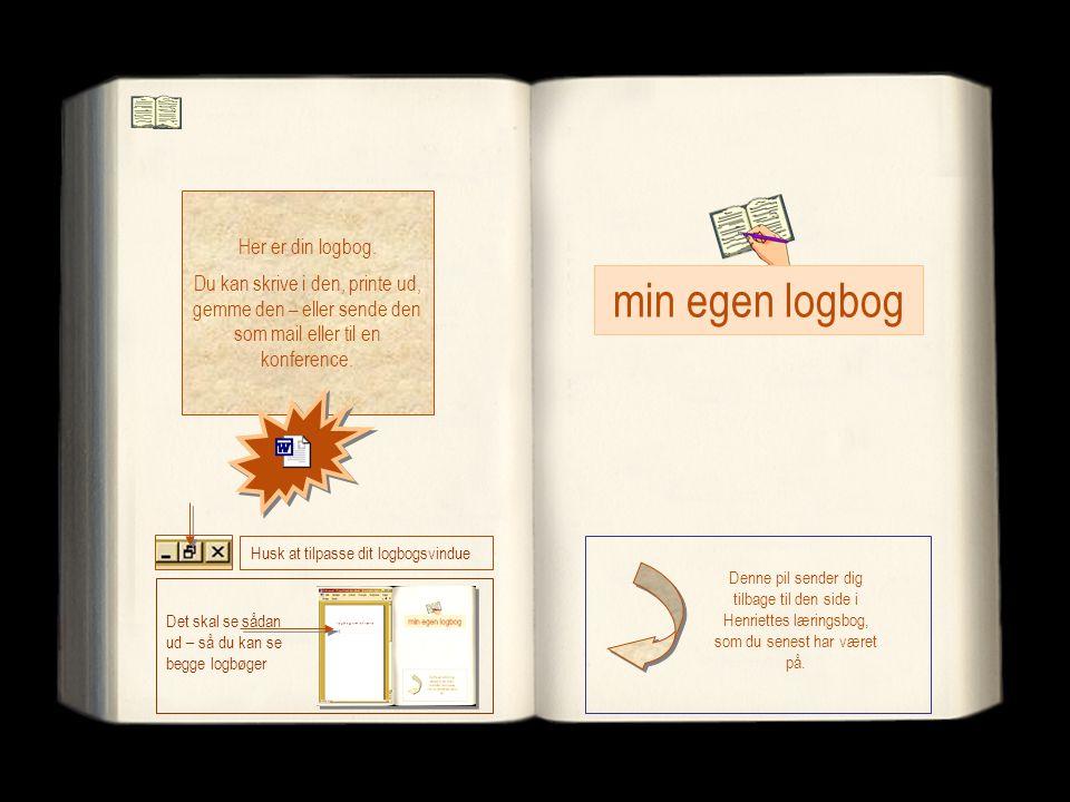 Her er din logbog. Du kan skrive i den, printe ud, gemme den – eller sende den som mail eller til en konference. Denne pil sender dig tilbage til den