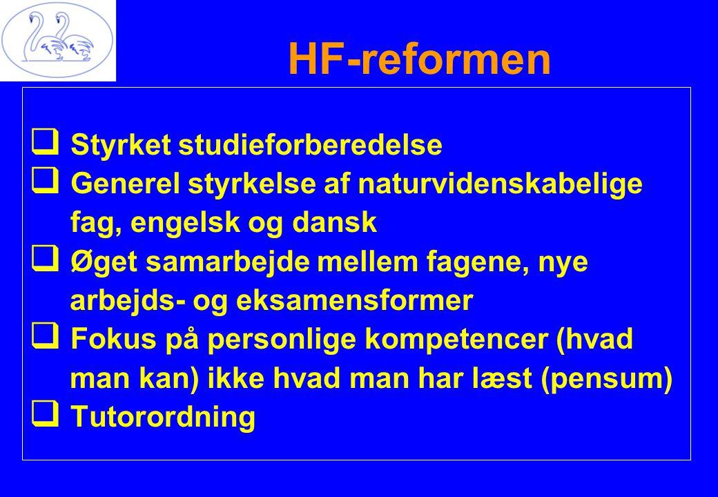  Styrket studieforberedelse  Generel styrkelse af naturvidenskabelige fag, engelsk og dansk  Øget samarbejde mellem fagene, nye arbejds- og eksamensformer  Fokus på personlige kompetencer (hvad man kan) ikke hvad man har læst (pensum)  Tutorordning HF-reformen