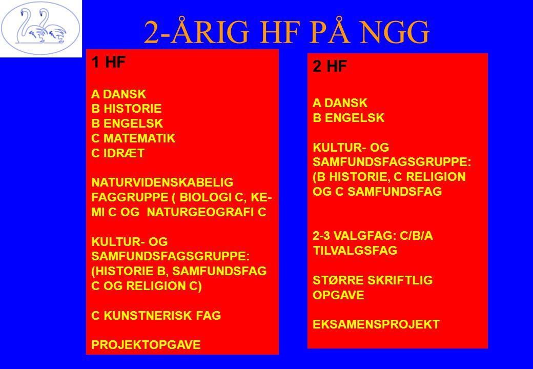 2-ÅRIG HF PÅ NGG 1 HF A DANSK B HISTORIE B ENGELSK C MATEMATIK C IDRÆT NATURVIDENSKABELIG FAGGRUPPE ( BIOLOGI C, KE- MI C OG NATURGEOGRAFI C KULTUR- OG SAMFUNDSFAGSGRUPPE: (HISTORIE B, SAMFUNDSFAG C OG RELIGION C) C KUNSTNERISK FAG PROJEKTOPGAVE 2 HF A DANSK B ENGELSK KULTUR- OG SAMFUNDSFAGSGRUPPE: (B HISTORIE, C RELIGION OG C SAMFUNDSFAG 2-3 VALGFAG: C/B/A TILVALGSFAG STØRRE SKRIFTLIG OPGAVE EKSAMENSPROJEKT