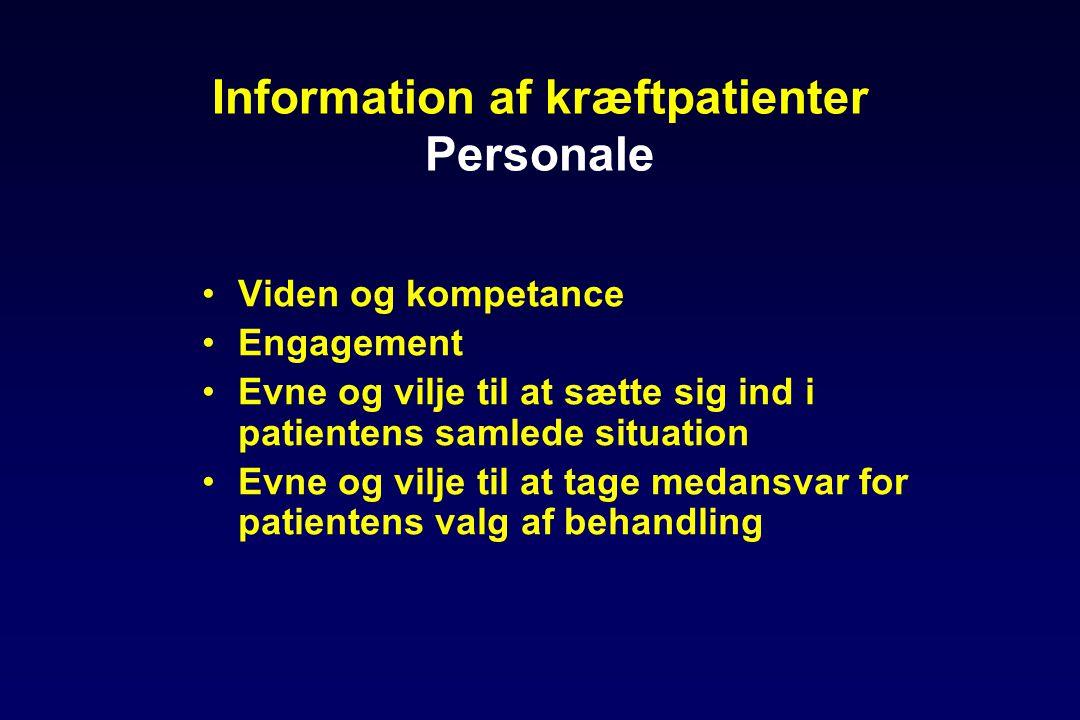 Information af kræftpatienter Personale •Viden og kompetance •Engagement •Evne og vilje til at sætte sig ind i patientens samlede situation •Evne og vilje til at tage medansvar for patientens valg af behandling
