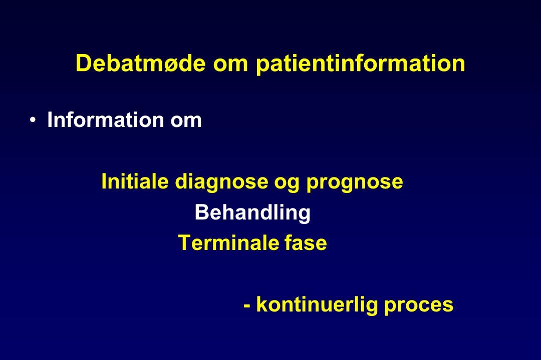 Debatmøde om patientinformation •Information om Initiale diagnose og prognose Behandling Terminale fase - kontinuerlig proces
