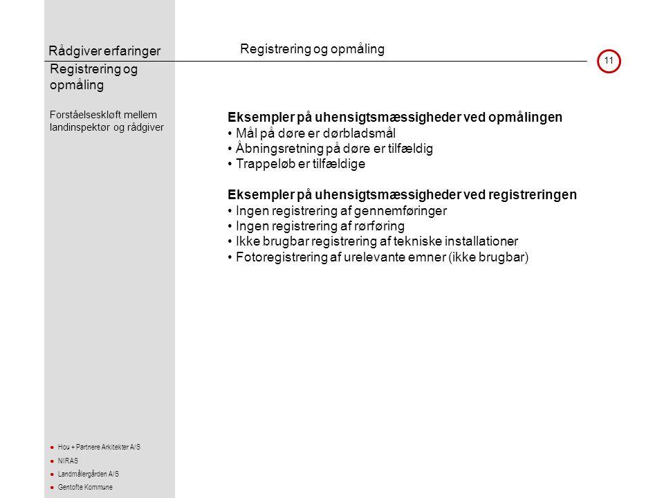 Rådgiver erfaringer 11 ● Hou + Partnere Arkitekter A/S ● NIRAS ● Landmålergården A/S ● Gentofte Kommune Registrering og opmåling •Forståelseskløft mel