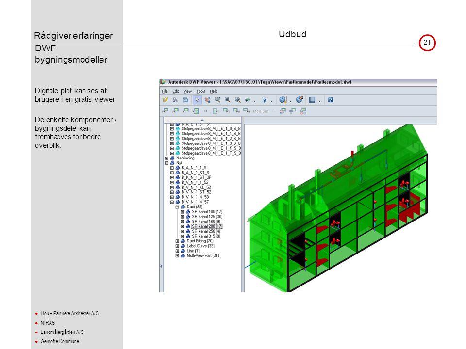 Rådgiver erfaringer 21 ● Hou + Partnere Arkitekter A/S ● NIRAS ● Landmålergården A/S ● Gentofte Kommune DWF bygningsmodeller •Digitale plot kan ses af