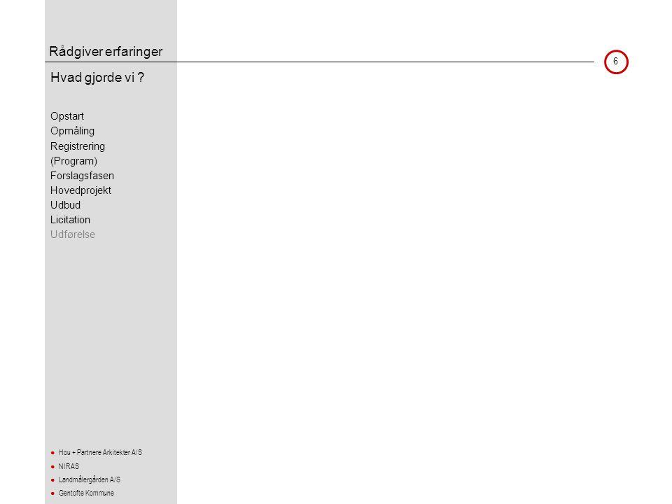 Rådgiver erfaringer 7 ● Hou + Partnere Arkitekter A/S ● NIRAS ● Landmålergården A/S ● Gentofte Kommune Aftalegrundlag •Inden opmåling blev der afholdt opstartsmøde med landinspektøren •Det var et ønske at afprøve om rådgivers indsats i forbindelse med registreringen kunne lettes..
