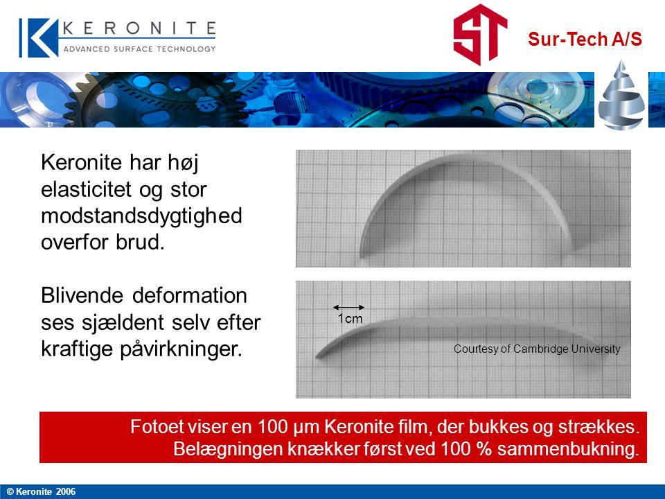 Sur-Tech A/S © Keronite 2006 Courtesy of Cambridge University 1cm Fotoet viser en 100 µm Keronite film, der bukkes og strækkes.