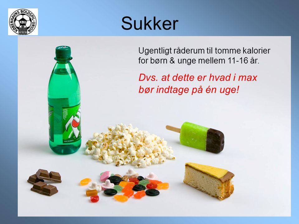 Sukker Ugentligt råderum til tomme kalorier for børn & unge mellem 11-16 år. Dvs. at dette er hvad i max bør indtage på én uge!