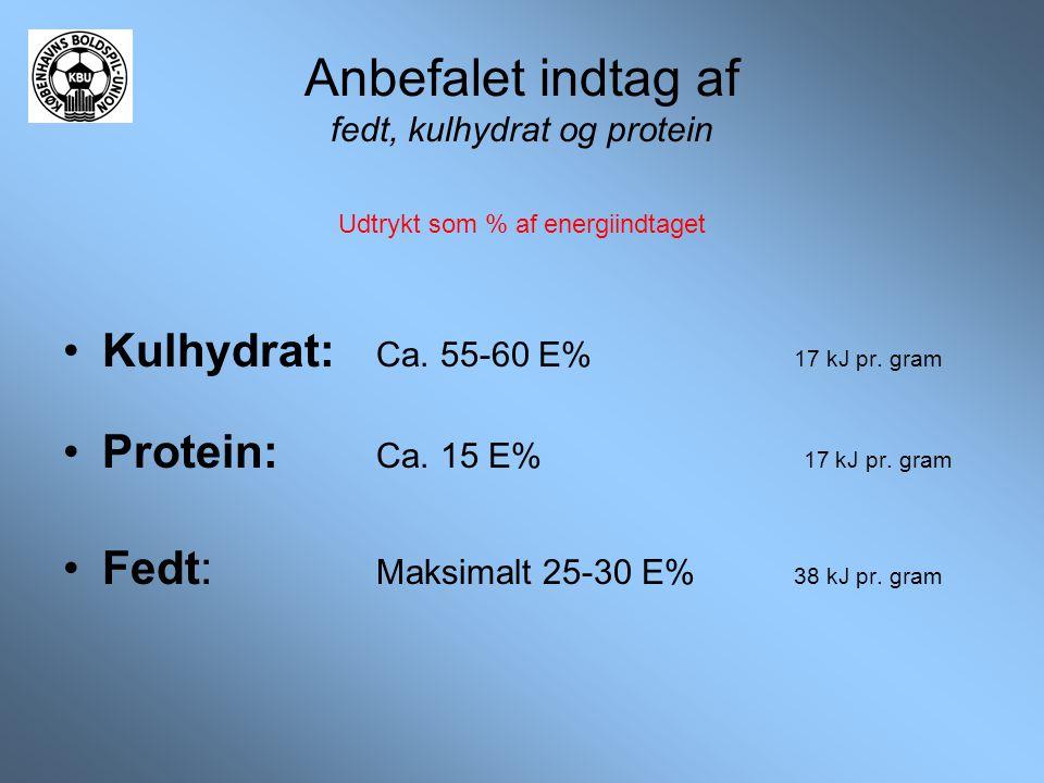 Anbefalet indtag af fedt, kulhydrat og protein Udtrykt som % af energiindtaget •Kulhydrat: Ca. 55-60 E% 17 kJ pr. gram •Protein: Ca. 15 E% 17 kJ pr. g