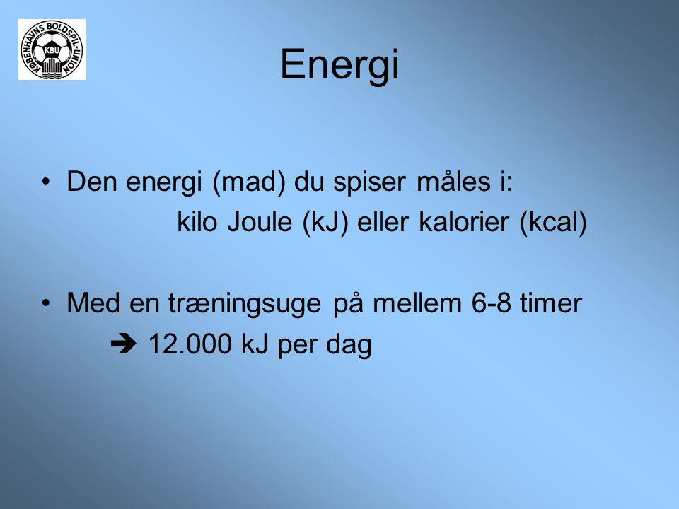 Energi •Den energi (mad) du spiser måles i: kilo Joule (kJ) eller kalorier (kcal) •Med en træningsuge på mellem 6-8 timer  12.000 kJ per dag