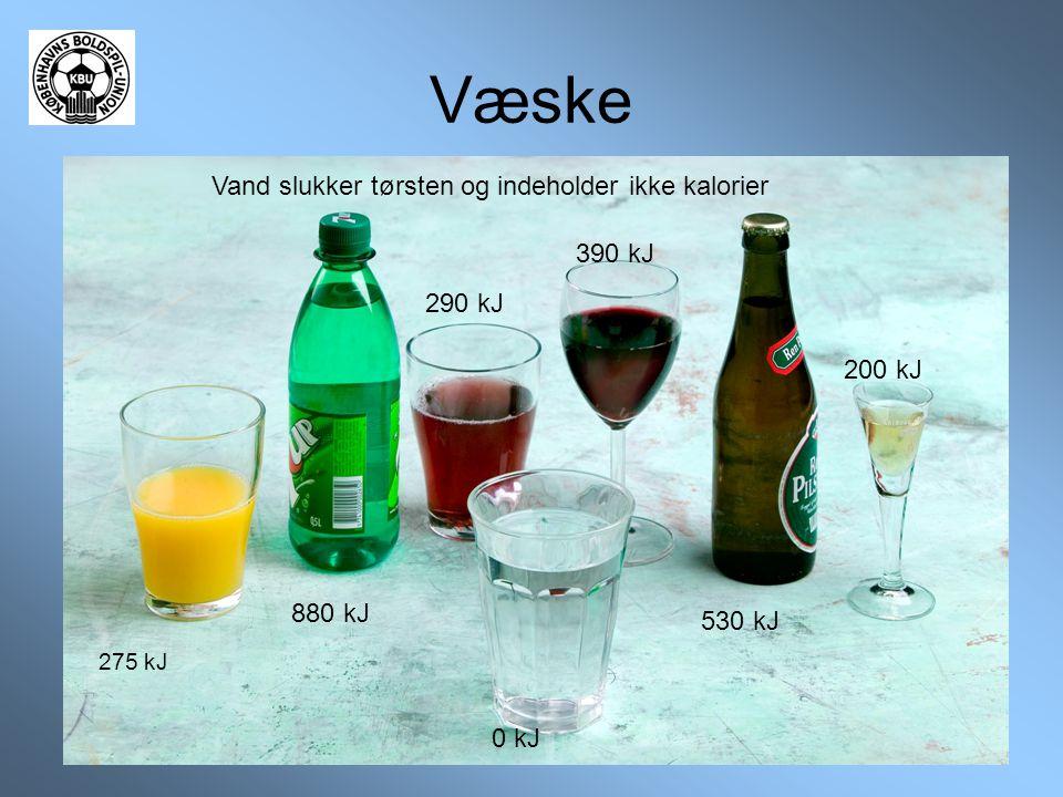 Væske Vand slukker tørsten og indeholder ikke kalorier 275 kJ 880 kJ 290 kJ 0 kJ 390 kJ 530 kJ 200 kJ
