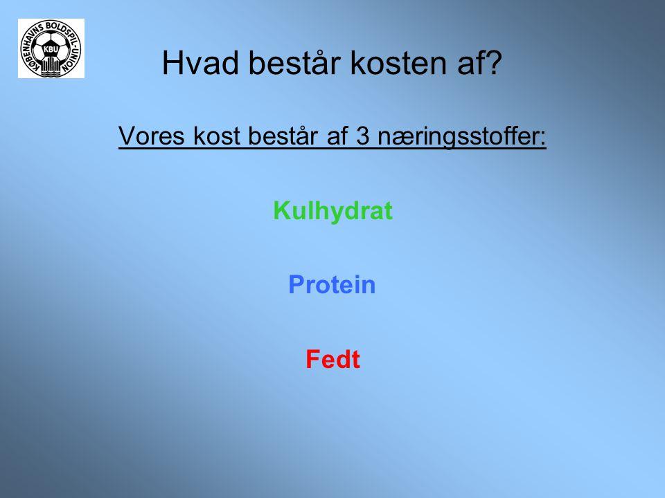 Hvad består kosten af? Vores kost består af 3 næringsstoffer: Kulhydrat Protein Fedt