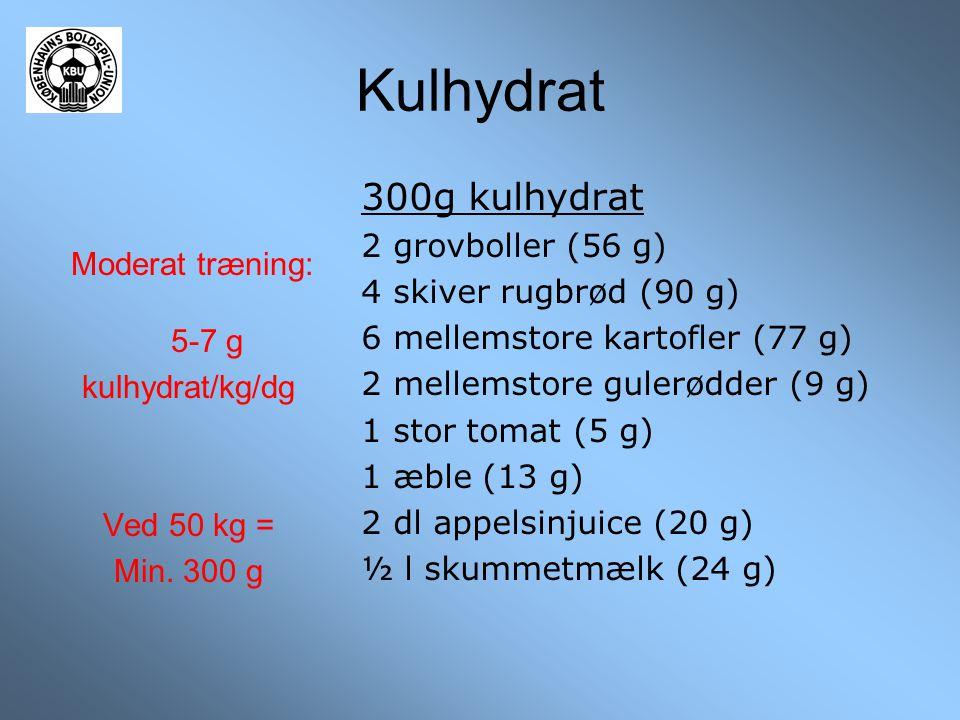 Kulhydrat Moderat træning: 5-7 g kulhydrat/kg/dg Ved 50 kg = Min. 300 g 300g kulhydrat 2 grovboller (56 g) 4 skiver rugbrød (90 g) 6 mellemstore karto
