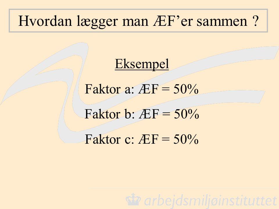 Hvordan lægger man ÆF'er sammen ? Eksempel Faktor a: ÆF = 50% Faktor b: ÆF = 50% Faktor c: ÆF = 50%