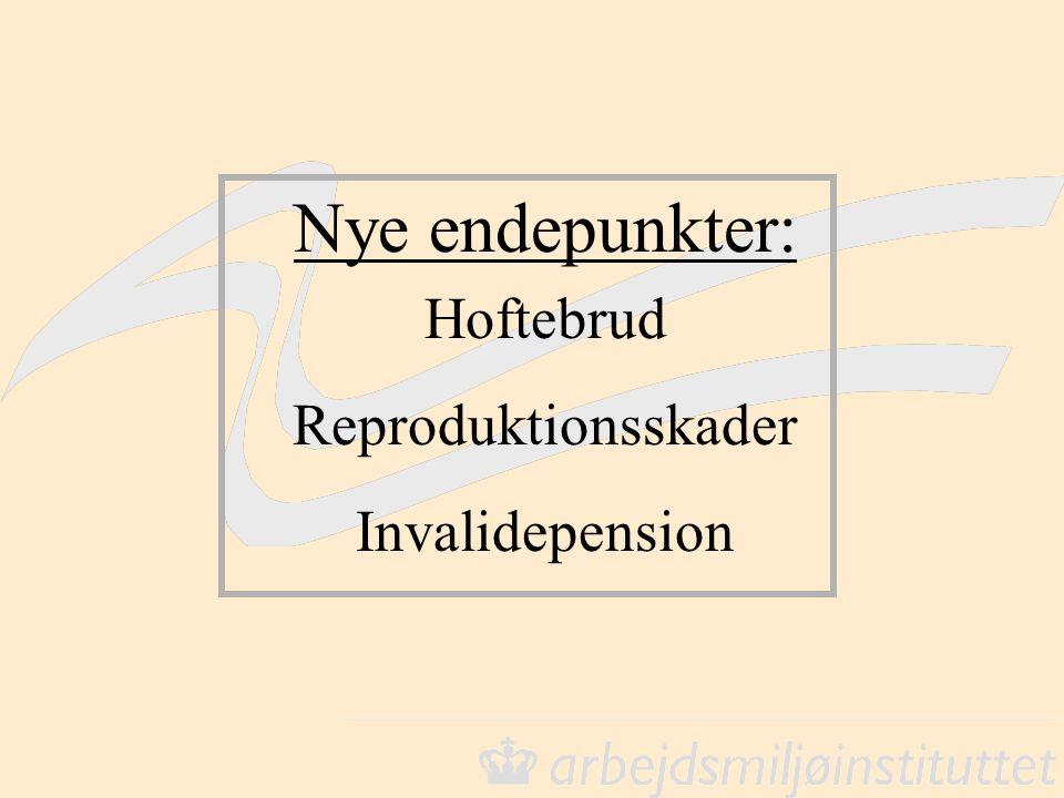 Hoftebrud Reproduktionsskader Invalidepension Nye endepunkter: