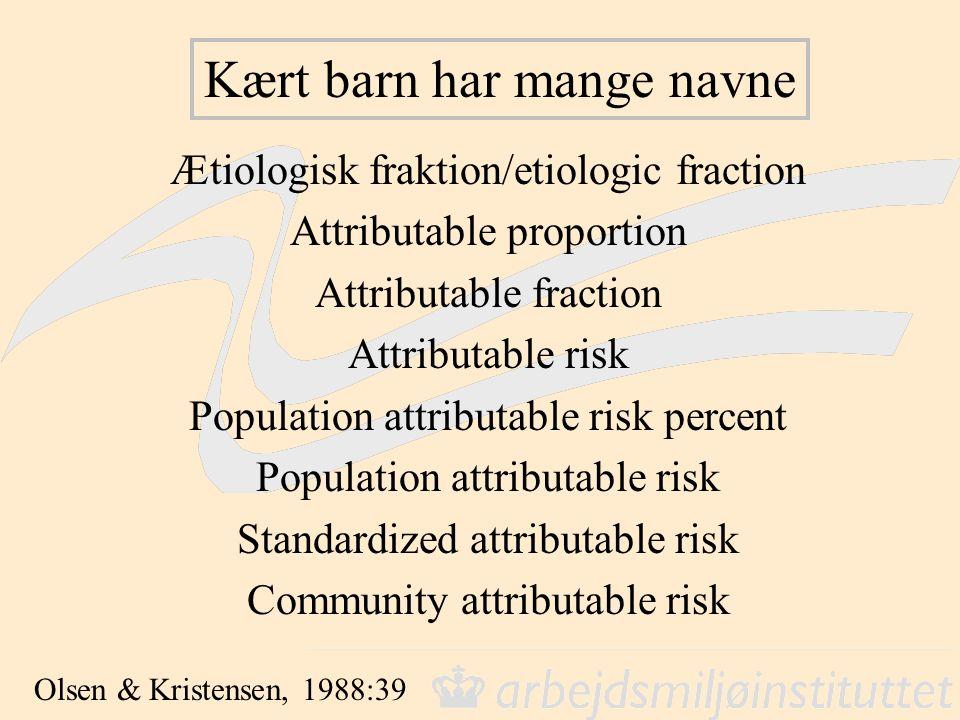 Kært barn har mange navne Ætiologisk fraktion/etiologic fraction Attributable proportion Attributable fraction Attributable risk Population attributable risk percent Population attributable risk Standardized attributable risk Community attributable risk Olsen & Kristensen, 1988:39