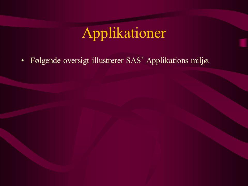 Applikationer •Følgende oversigt illustrerer SAS' Applikations miljø.