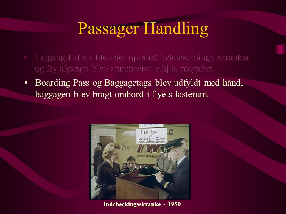 Passager Handling Indcheckingsskranke ~ 1950