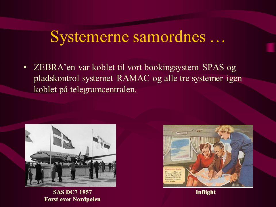 Systemerne samordnes … •ZEBRA'en var koblet til vort bookingsystem SPAS og pladskontrol systemet RAMAC og alle tre systemer igen koblet på telegramcentralen.