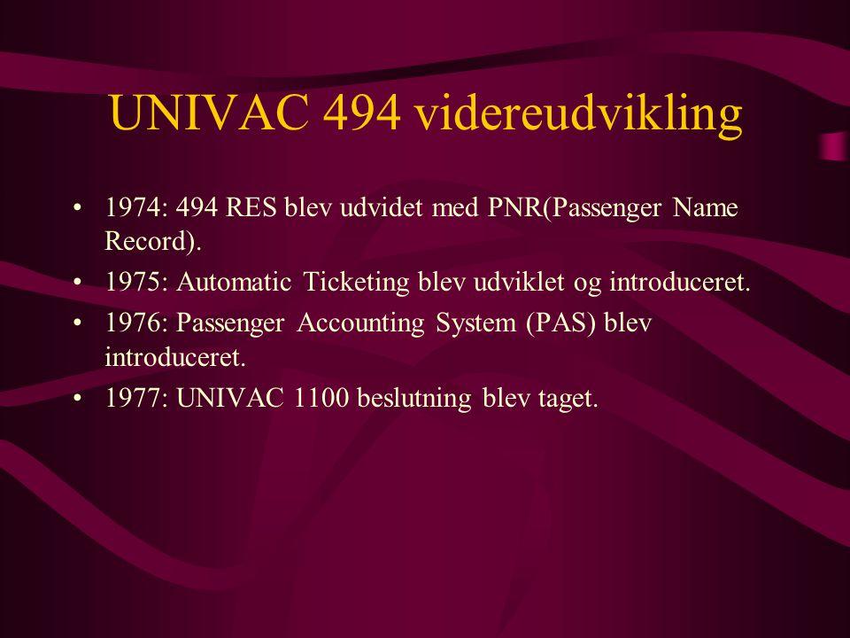 UNIVAC 494 videreudvikling •1974: 494 RES blev udvidet med PNR(Passenger Name Record).