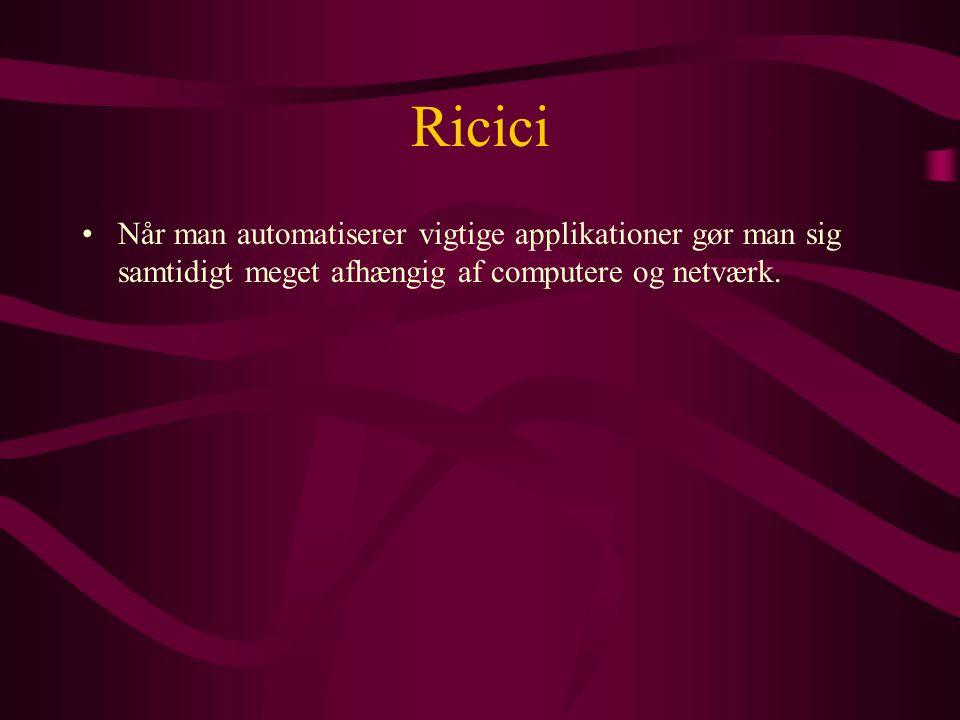 Ricici •Når man automatiserer vigtige applikationer gør man sig samtidigt meget afhængig af computere og netværk.
