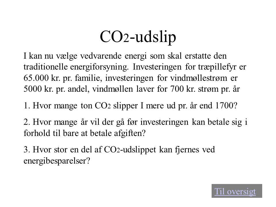 CO 2 -udslip I kan nu vælge vedvarende energi som skal erstatte den traditionelle energiforsyning. Investeringen for træpillefyr er 65.000 kr. pr. fam