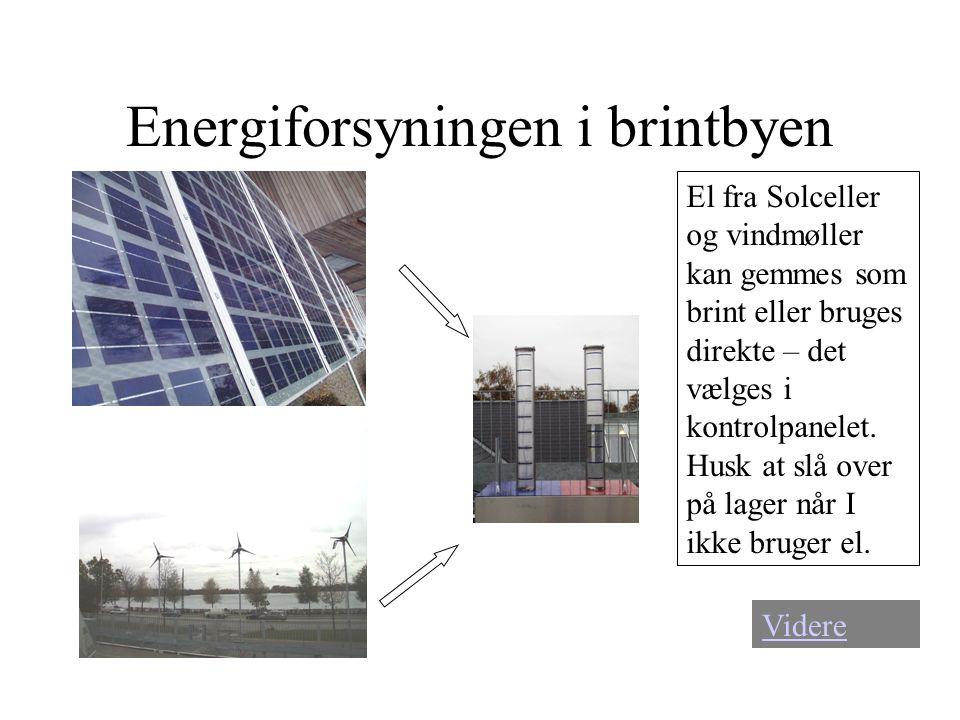 Energiforsyningen i brintbyen Videre El fra Solceller og vindmøller kan gemmes som brint eller bruges direkte – det vælges i kontrolpanelet. Husk at s