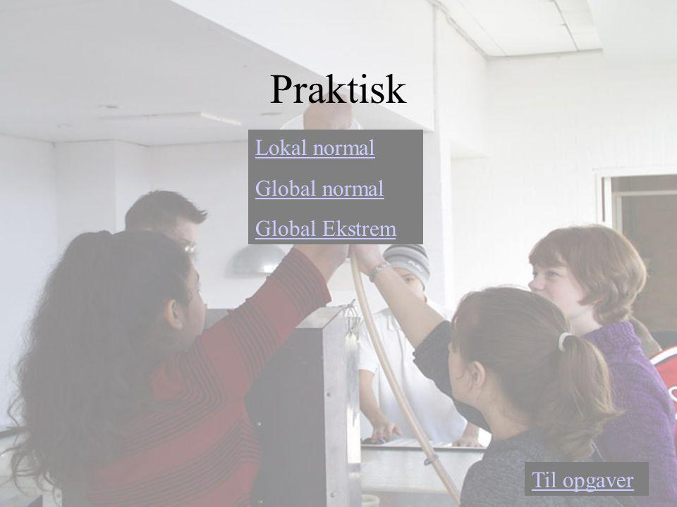 Praktisk Lokal normal Global normal Global Ekstrem Til opgaver