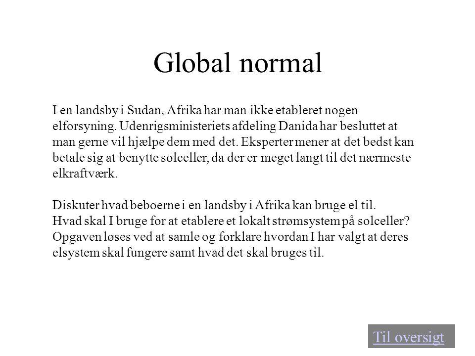 Global normal Til oversigt I en landsby i Sudan, Afrika har man ikke etableret nogen elforsyning. Udenrigsministeriets afdeling Danida har besluttet a