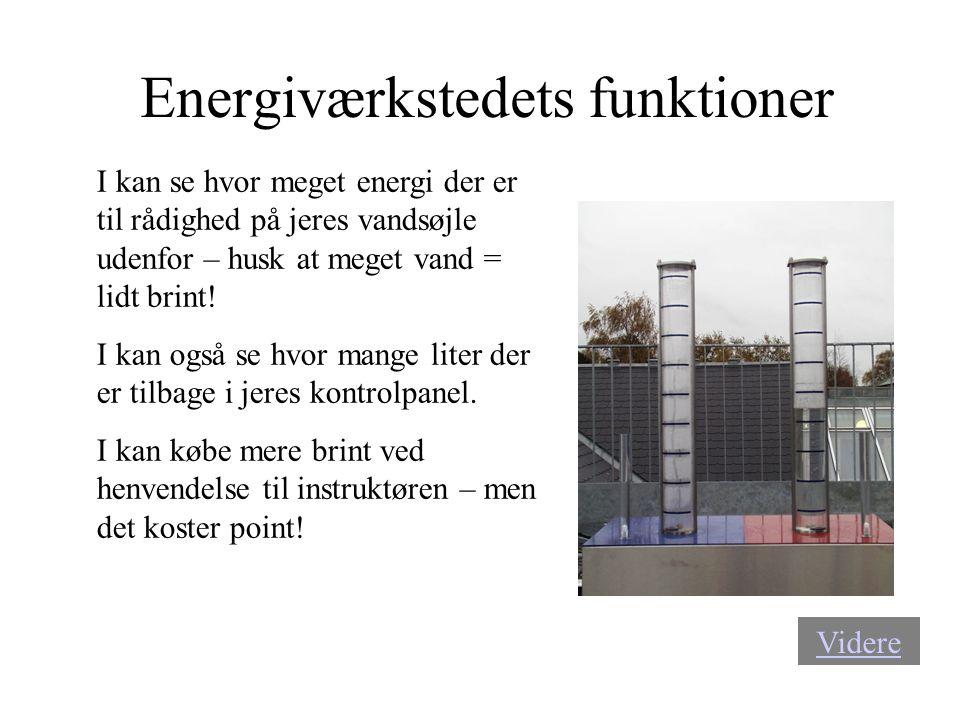 Energiværkstedets funktioner I kan se hvor meget energi der er til rådighed på jeres vandsøjle udenfor – husk at meget vand = lidt brint! I kan også s