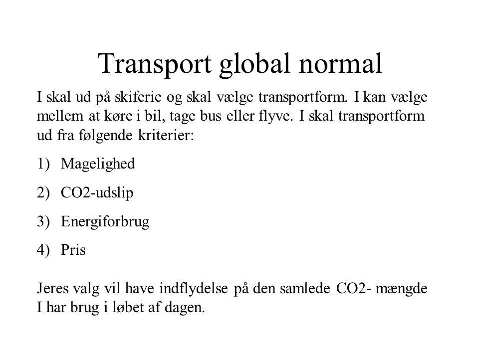 Transport global normal I skal ud på skiferie og skal vælge transportform. I kan vælge mellem at køre i bil, tage bus eller flyve. I skal transportfor