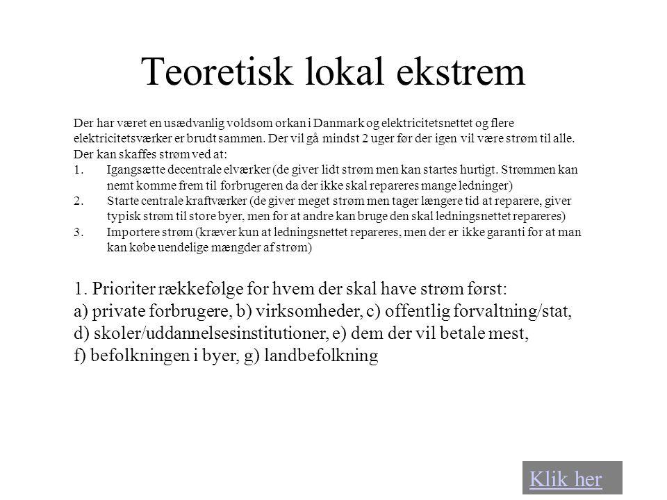 Teoretisk lokal ekstrem Der har været en usædvanlig voldsom orkan i Danmark og elektricitetsnettet og flere elektricitetsværker er brudt sammen. Der v