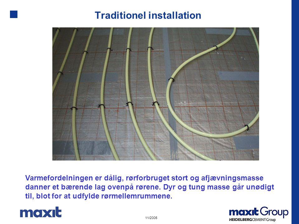 11/2005 Traditionel installation Varmefordelningen er dålig, rørforbruget stort og afjævningsmasse danner et bærende lag ovenpå rørene.