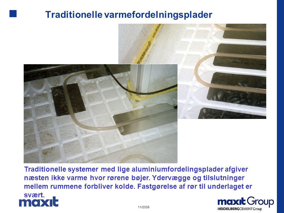 11/2005 Traditionelle varmefordelningsplader Traditionelle systemer med lige aluminiumfordelingsplader afgiver næsten ikke varme hvor rørene bøjer.