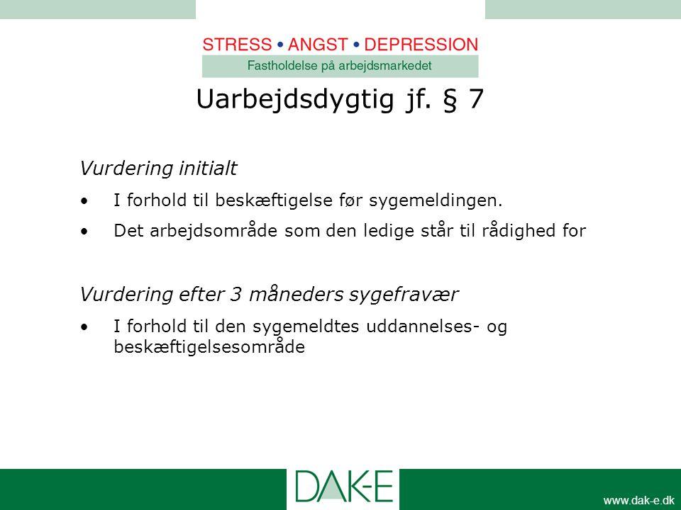 www.dak-e.dk Vurdering initialt •I forhold til beskæftigelse før sygemeldingen. •Det arbejdsområde som den ledige står til rådighed for Vurdering efte