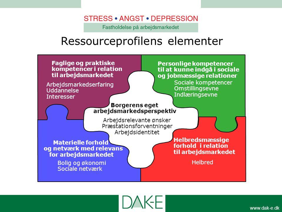 www.dak-e.dk Faglige og praktiske kompetencer i relation til arbejdsmarkedet Materielle forhold og netværk med relevans for arbejdsmarkedet Personlige