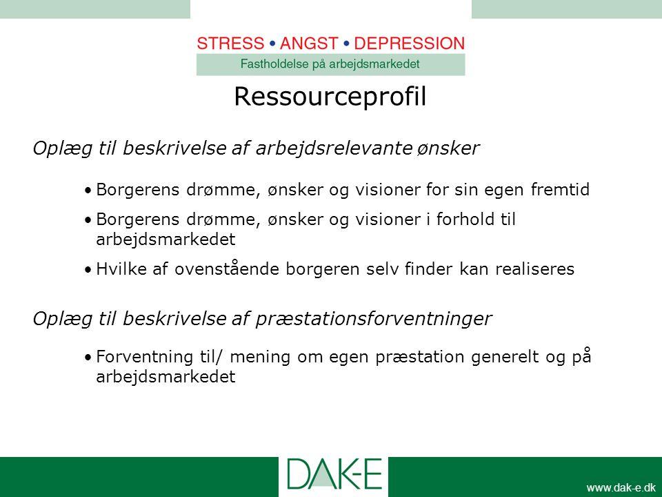 www.dak-e.dk Ressourceprofil Oplæg til beskrivelse af arbejdsrelevante ønsker •Borgerens drømme, ønsker og visioner for sin egen fremtid •Borgerens dr