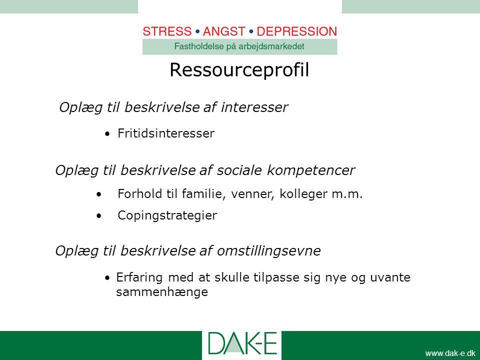 www.dak-e.dk Ressourceprofil Oplæg til beskrivelse af interesser •Fritidsinteresser Oplæg til beskrivelse af sociale kompetencer •Forhold til familie,