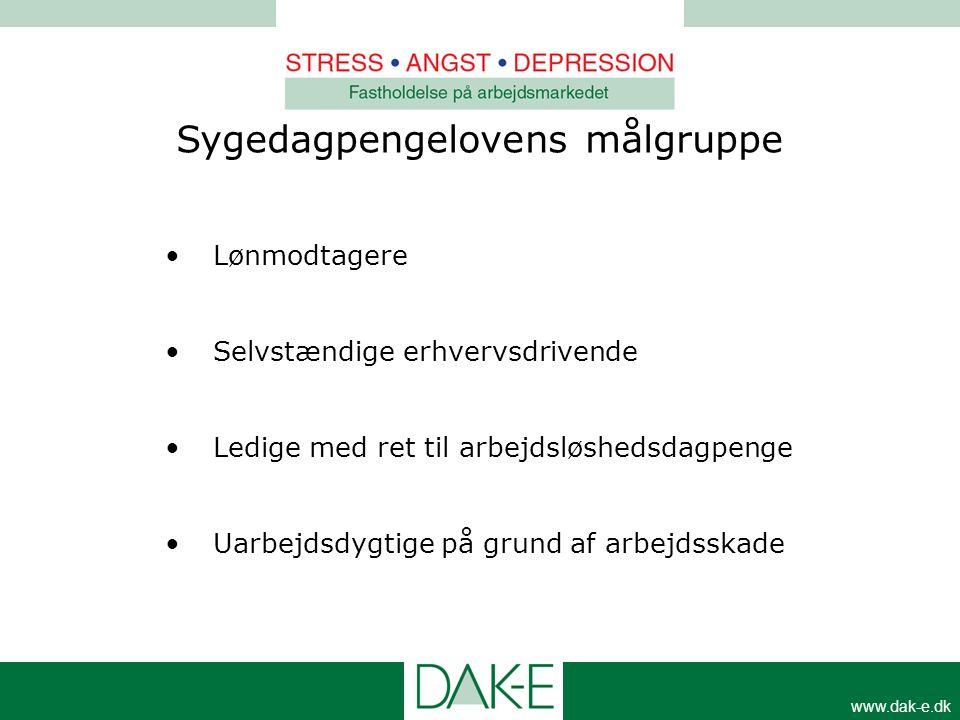 www.dak-e.dk •Lønmodtagere •Selvstændige erhvervsdrivende •Ledige med ret til arbejdsløshedsdagpenge •Uarbejdsdygtige på grund af arbejdsskade Sygedag