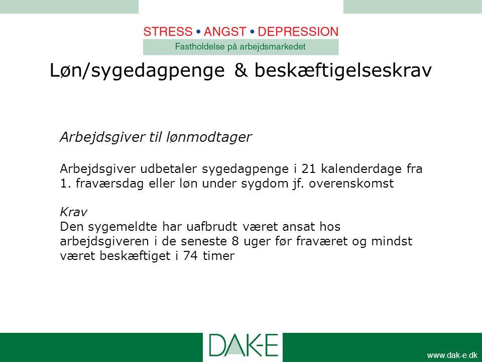 www.dak-e.dk Løn/sygedagpenge & beskæftigelseskrav Arbejdsgiver til lønmodtager Arbejdsgiver udbetaler sygedagpenge i 21 kalenderdage fra 1. fraværsda