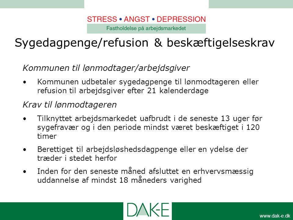 www.dak-e.dk Kommunen til lønmodtager/arbejdsgiver •Kommunen udbetaler sygedagpenge til lønmodtageren eller refusion til arbejdsgiver efter 21 kalende