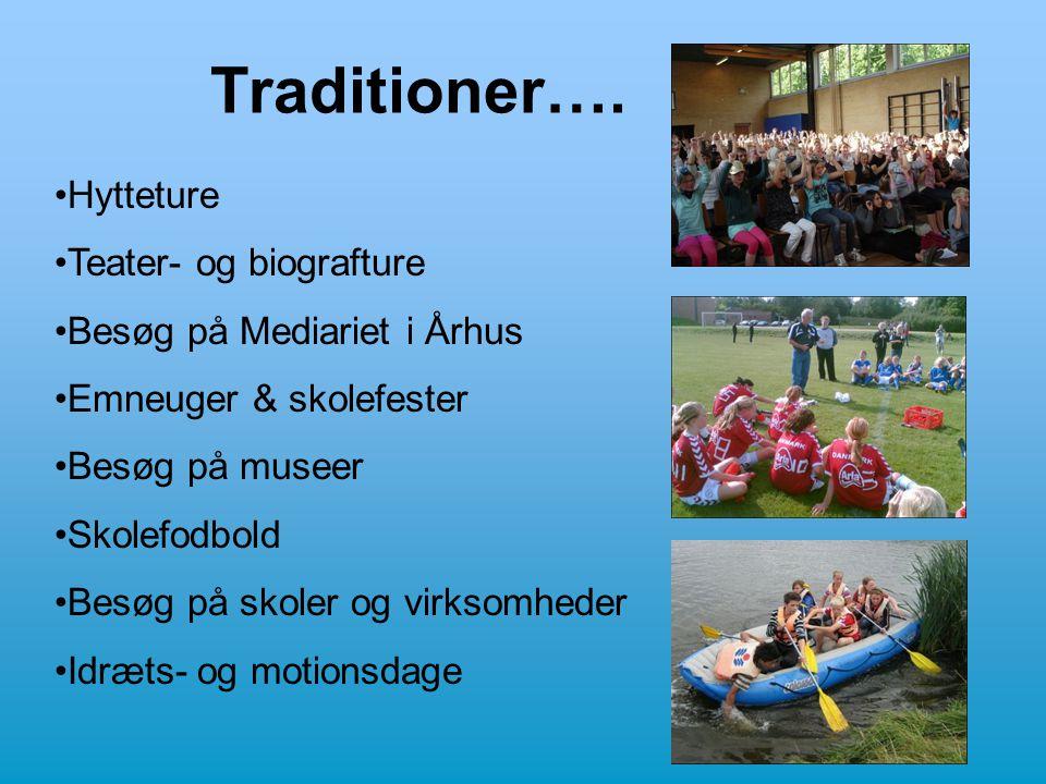 Traditioner…. •Hytteture •Teater- og biografture •Besøg på Mediariet i Århus •Emneuger & skolefester •Besøg på museer •Skolefodbold •Besøg på skoler o