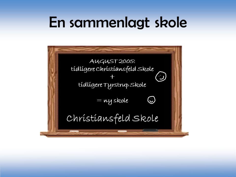 Christiansfeld Skole AUGUST 2005: tidligere Christiansfeld Skole + tidligere Tyrstrup Skole = ny skole Christiansfeld Skole En sammenlagt skole